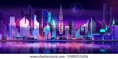 Future metropolis on seacoast, extraterrestrial space colony city flat vector with futuristic skyscrapers illuminating at night with fluorescent, neon lights, reflecting in bay calm water illustration