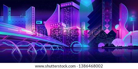 Future metropolis streets night skyline cartoon vector with illuminated blue and violet neon lights futuristic skyscrapers, bridge, subway railroad over city bay illustration. Sci-fi urban background