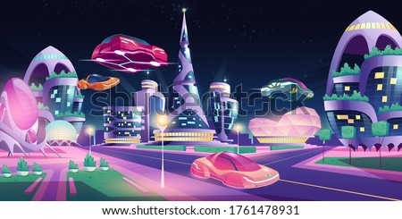 Future night city with flying cars and futuristic neon glowing glass buildings of unusual shapes, green plants, automobile drive road. Alien urban architecture skyscrapers, Cartoon vector illustration