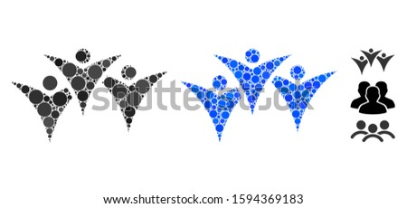 Future people group composition of circle elements in different sizes and color tones, based on future people group icon. Vector random circles are grouped into blue composition.