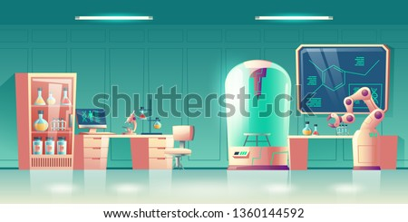 Future science laboratory, human genetics researcher workplace interior cartoon vector with computer and microscope on desk, lab flasks in rack, robotic hand, capsule for experiments illustration