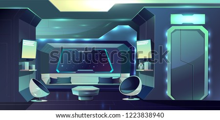 Future spaceship crew cabin futuristic interior cartoon vector illustration. Fiction live space station internal arrangement, apartment of hotel on Earth orbit, planet colonists comfortable dwelling