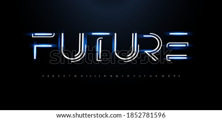 Future style alphabet. Line innovation font, cyber tech type for innovate futuristic logo, techno monogram, network and hud graphic. New technology science style letters, vector typography design