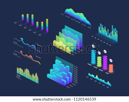 Future tech 3d isometric data finance graphic, business charts, analysis and plan binary indicators and infographic vector elements. Wave graph data, diagram statistic column illustration
