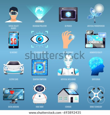 future technologies icons with