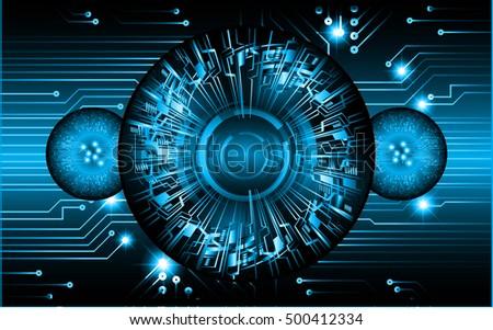 future technology, blue eye light cyber security concept background, abstract hi speed digital data internet website. motion move speed blur. pixel vector. eyeball