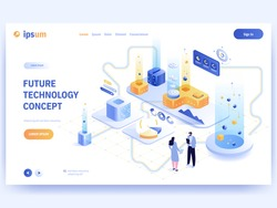 Future technology concept banner template. Scientists experiment in futuristic laboratory, process automation, abstract equipment, scientific research, innovation. Vector character illustration