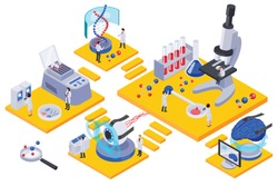 Future technology isometric rooms composition with characters of scientists test tubes and laboratory equipment on platforms vector illustration
