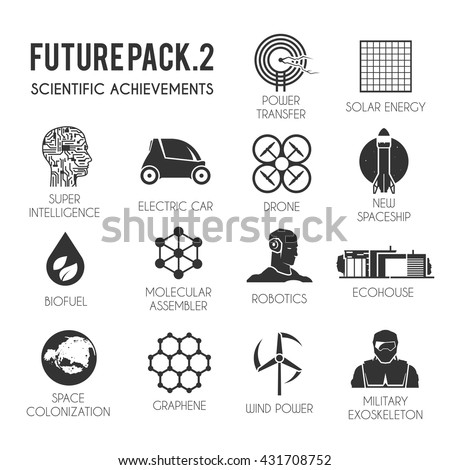 future vector flat icons set