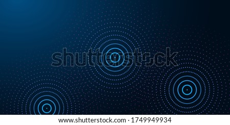 Futuristic abstract banner with abstract water rings, ripples on dark blue background. Modern design vector illustration.
