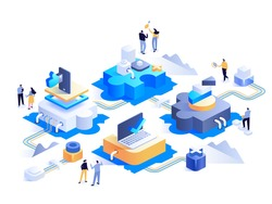 Futuristic abstract tech isometric concept. Network puzzle, analysis statistical data, sets up online work, internet connected, work in social media. Modern office. Vector character illustration
