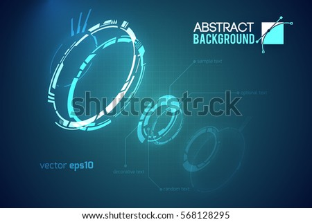 Futuristic abstract template with innovative virtual user interfaces on dark background vector illustration