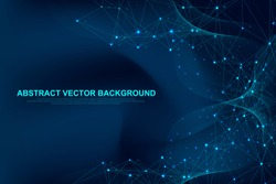 Futuristic abstract vector background blockchain technology. Peer to peer network business concept. Global cryptocurrency blockchain vector banner. Flowing lines, waves, dots.