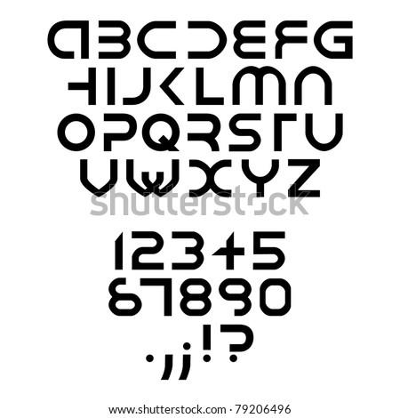 futuristic alphabet font isolated - illustration