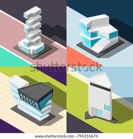 Futuristic architecture 2x2 design concept  with four square elements demonstrating abstract buildings of original and unusual design isometric vector illustration