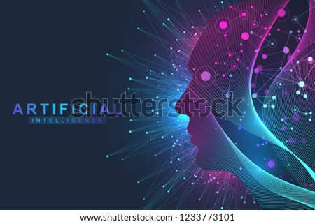 Futuristic Artificial Intelligence and Machine Learning Concept.. Human Big Data Visualization. Wave Flow Communication, Scientific vector illustration.