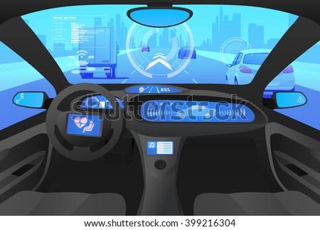 futuristic automobile cockpit