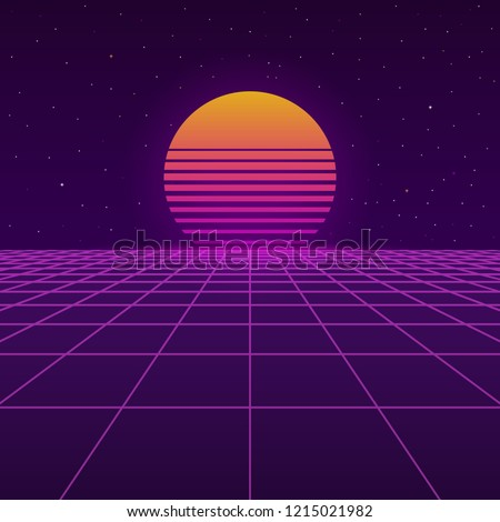 Futuristic background the 80`s. New retro wave. Cyberpunk. Sunset sun on retro cyber surface. Vector illustration.