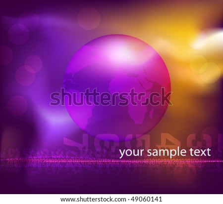 Futuristic background with globe and lighting effects. Vector illustration. (Rgb-model, eps10).