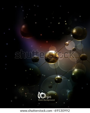 Futuristic background with molecules black, eps10