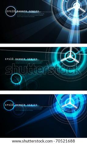 futuristic banner set   vector