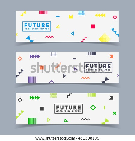 Futuristic banners set. Simple geometric shapes in motion. Eps10 vector illustration.