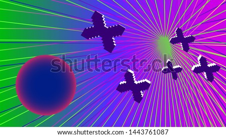 Futuristic battle pattern of star pixel ships against a violet-blue-green cyberspace.