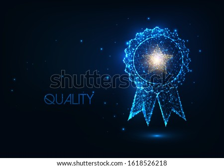 Futuristic best quality award badge concept with glowing low polygonal winner medal and golden star isolated on dark blue background. Modern wire frame mesh design vector illustration.