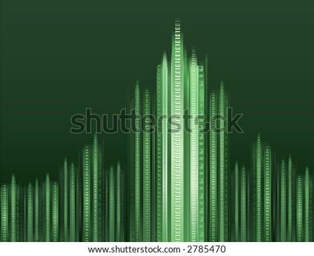 Futuristic binary digital cityscape - Matrix stylized illustration