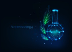 Futuristic biotechnology concept with glowing low polygonal chemical beaker and green leaves and text on dark blue background. Eco friendly scientific banner. Wireframe design vector illustration.