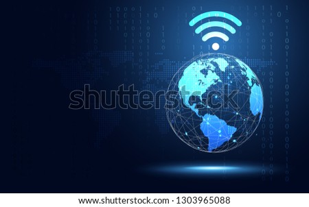 Futuristic blue earth with Wifi internet abstract technology background. Artificial intelligence digital transformation and big data concept. Business quantum internet network communication concept