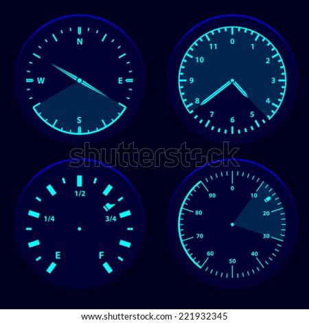 futuristic blue gauge dashboard