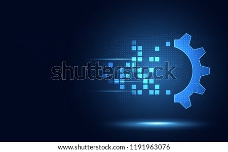 Futuristic blue gear digital transformation abstract technology background. Artificial intelligence and big data concept. Business growth computer and investment industry 4.0 . Vector illustration
