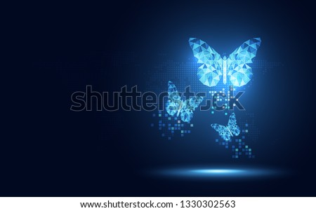 Futuristic blue lowpoly Butterfly abstract technology background. Artificial intelligence digital transformation and big data concept. Business quantum internet network communication evolution concept
