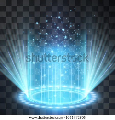 Futuristic blue neon light portal, crown shape laser cylinder light with glowing sparkles on transparent background. Magical glittering stardust illumination. Blinking energy stream. Hologram station.