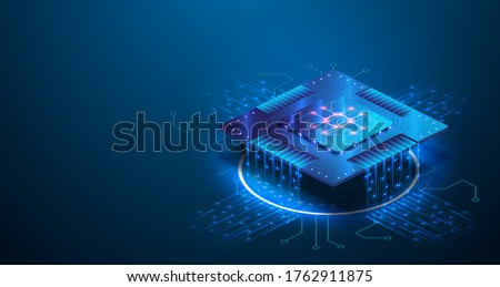 Futuristic blue neon microchip, data exchange and collection, smart new microchip concept. Quantum computer, large data processing, database concept. CPU isometric banner. Central Computer Processors Stockfoto ©