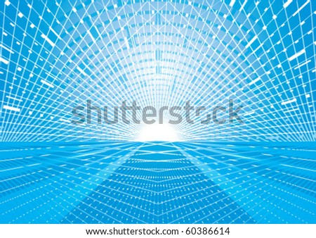 futuristic blue road - stock vector