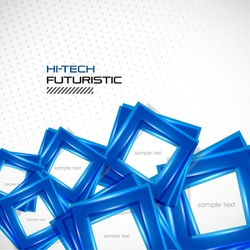 Futuristic blue square abstract background