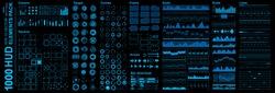 Futuristic blue virtual graphic touch user interface, Mega set Futuristic Hud elements