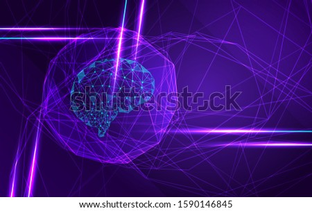 Futuristic brain in molecular space. Development of the innovations industry in the modern biology and analysis of robotic programs in innovative projects Future technologies. Vector Illustration.