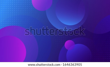 Futuristic bright colorful gradient background with blue and pink circle shape. Abstract dynamic light geometric space backdrop with dots and round form figure