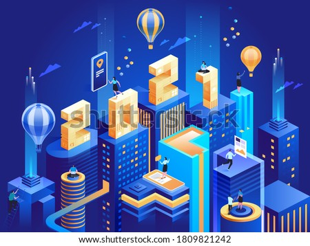 Futuristic business city in isometric view with 2021 numbers. Happy New Year business concept. Abstract modern skyscrapers, urban cityscape, employees work at downtown. Vector character illustration