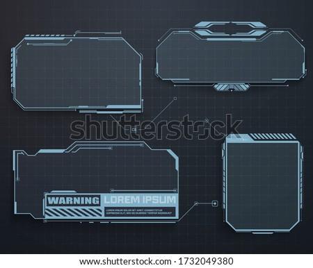 Futuristic callout bar labels. Set of HUD futuristic sci fi frame template. HUD, GUI futuristic frame user interface screen elements set.  Virtual hi Sci fi technology gadget interface for game app