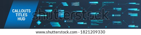 Futuristic Callouts titles in HUD style. Template Callout bar labels box in digital style. Futuristic User Interface boxes layout template. Callouts titles for information. Vector colorful set HUD