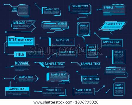 Futuristic callouts titles. Info boxes, digital information bar labels, modern description banner. Callout bar titles vector illustration set. Hud collection layout templates on dark blue