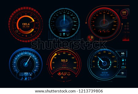 Futuristic car speedometer. Speed hud kilometer performance indicators dashboard, gas and fuel level analog panels or automobile race sports rpm technology vector isolated icons collection