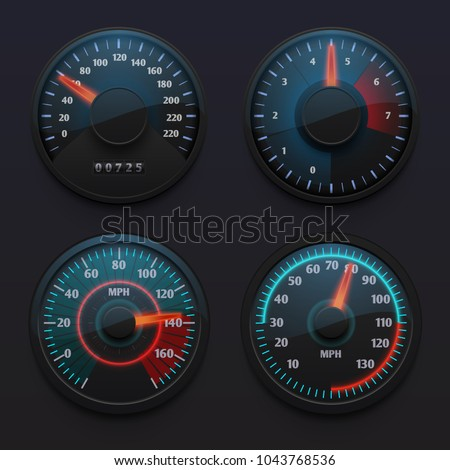 Futuristic car speedometers, speed indicators with pointer for vehicle dashboard isolated vector set. Illustration of speedometer on dashboard, speed measurement pointer
