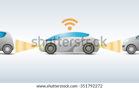 futuristic car with sensing and