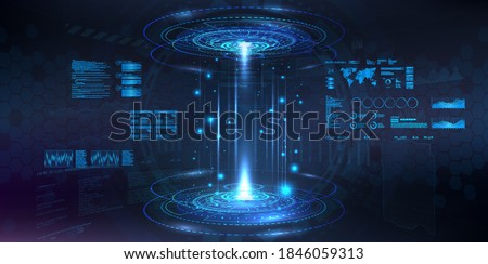 Futuristic circle 3D lab - stage with HUD elements for UI, GUI, App background. Blank podium for show your product. Modern stage in cyberpunk style. Holograms hi-tech demonstration. Vector show room