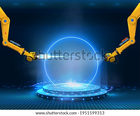 Futuristic circle portal HUD, GUI, UI screen pedestal for product presentation. Abstract style on blue background. Factory automation. Smart hi-tech factory. Design innovation concept Stock fotó ©